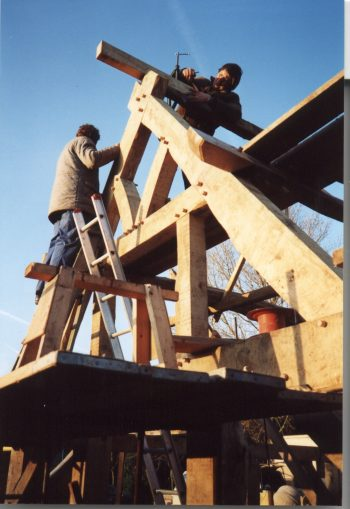 Photo of original barn construction build taken in 1980's